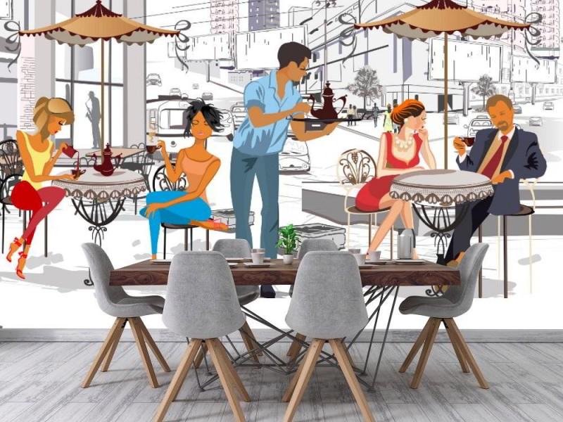 Fototapet Vintage gatukafé café