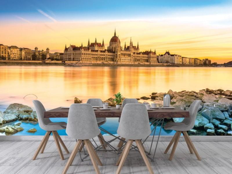 Fototapet vy över Hungarian parlament vid solnedgången (Ungern)