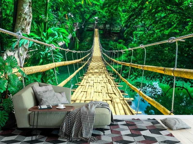Fototapet hängande bro i bambu