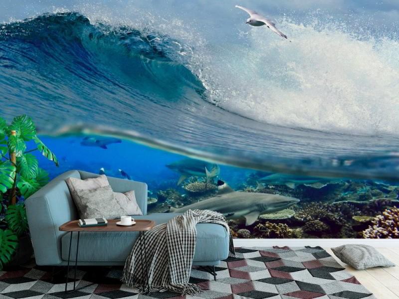 Fototapet Ocean våg virvlar runt