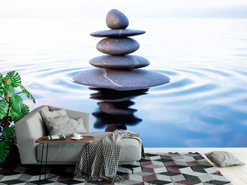 Fototapet Zen stenar i vatten med reflektion