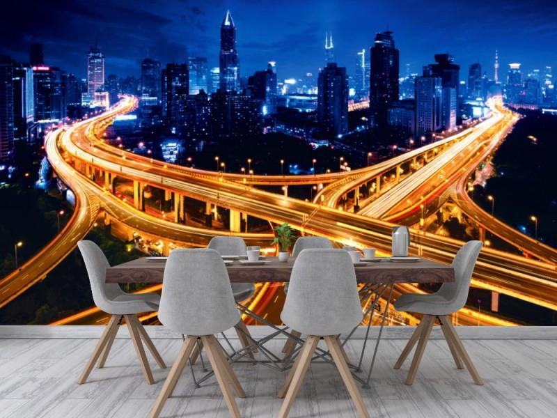 Fototapet Shanghai förhöjd vägkorsning (64946366)