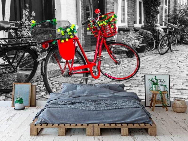 Fototapet retro vintage röd cykel