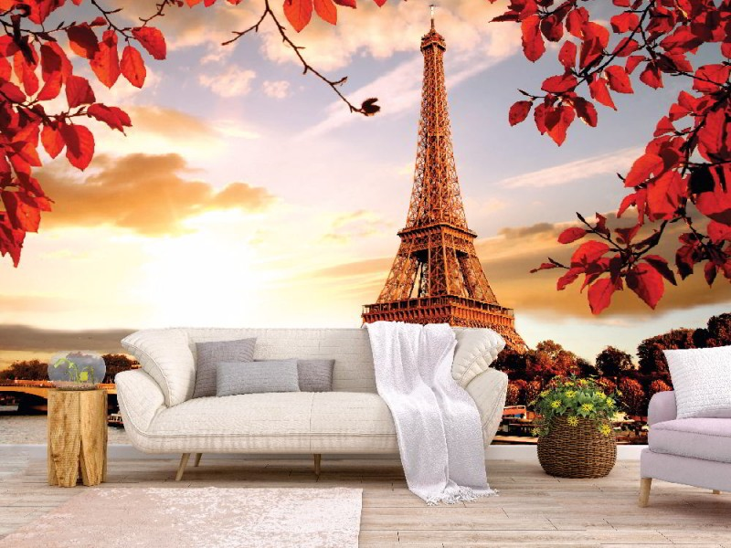 Fototapet Eiffeltornet med höstlöv