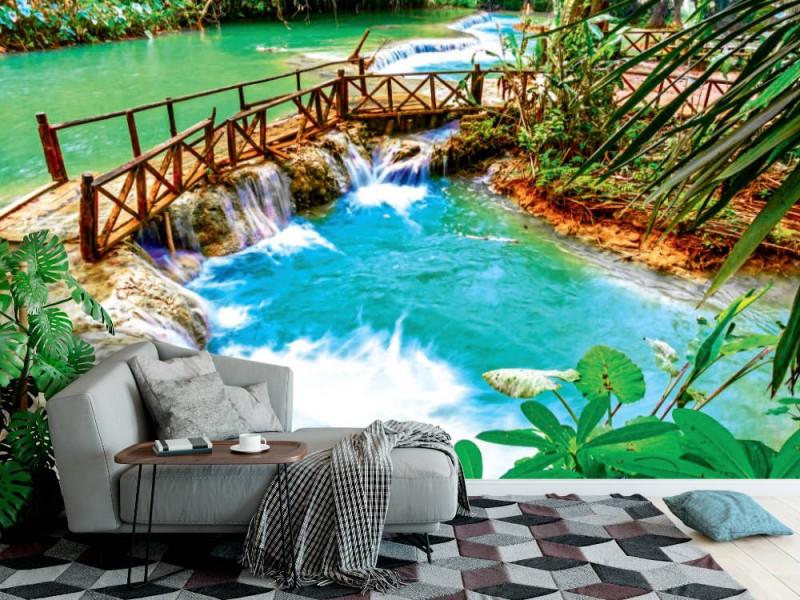 Fototapet Turkosvatten av Kuang Si-kaskadvattenfallet i Laos