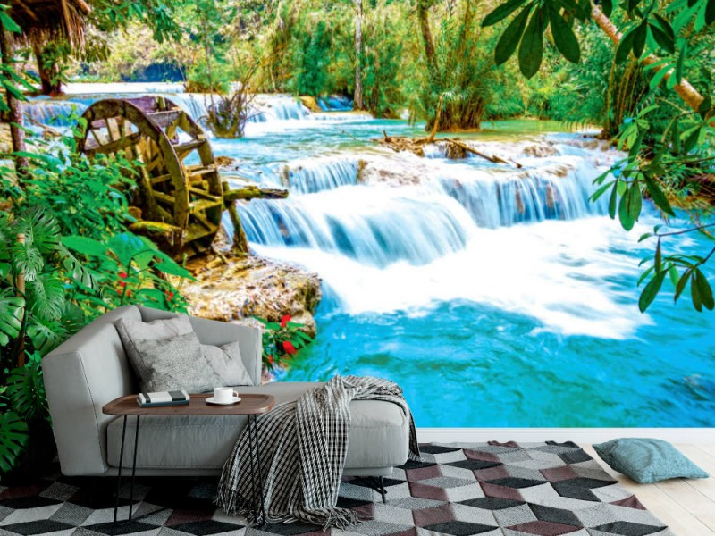 Fototapet Kuang Si vattenfall i Laos