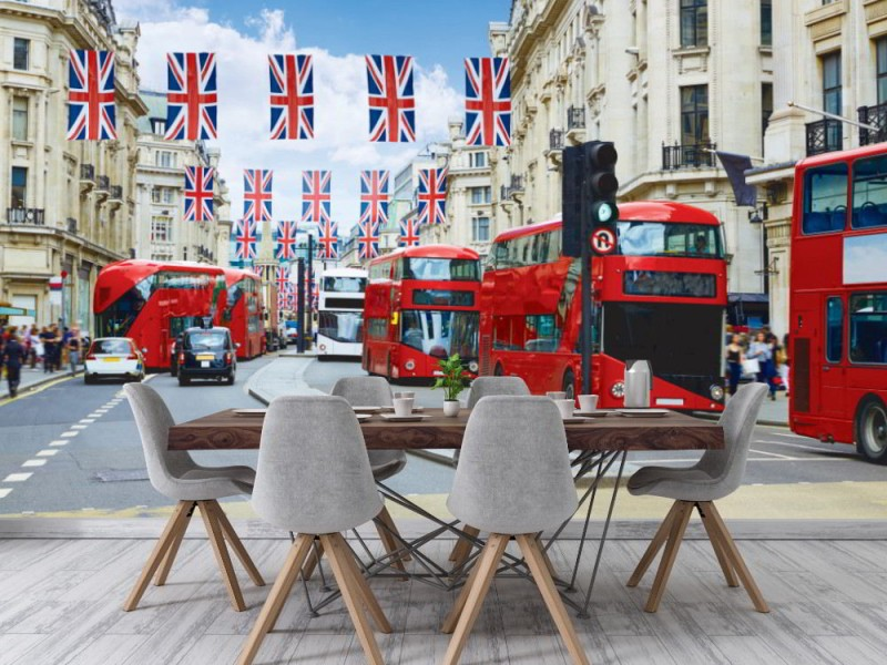 Fototapet London bussar på Regent Street i London