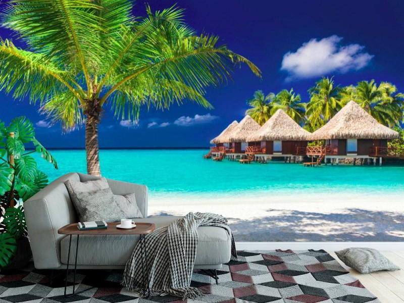 Fototapet bungalows på en tropisk ö