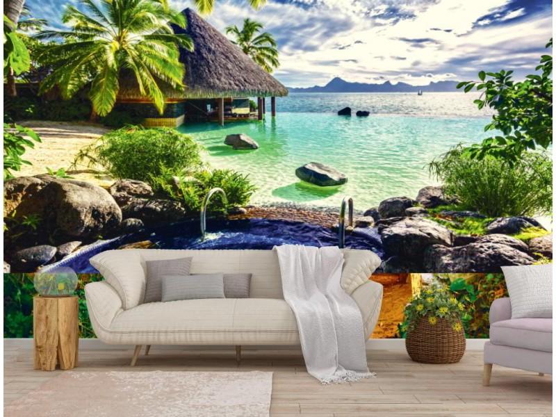 Fototapet Tahiti kurort (74342802)