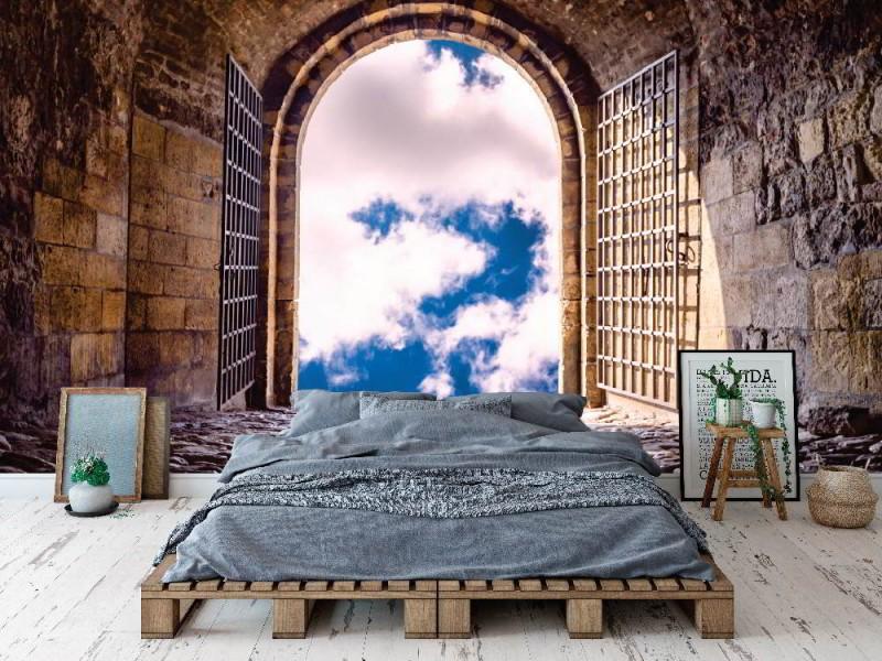 Fototapet dörr till himlen