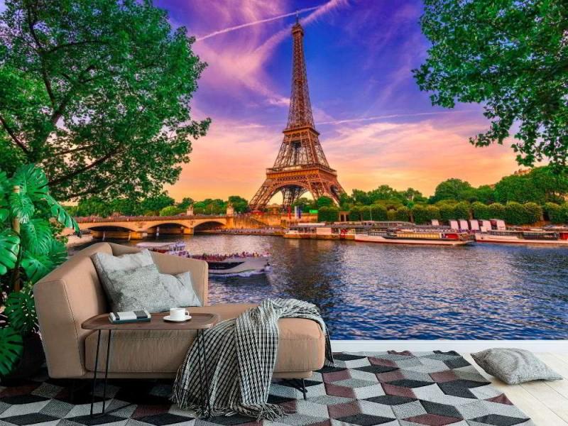 Fototapet Eiffeltornet vid solnedgången