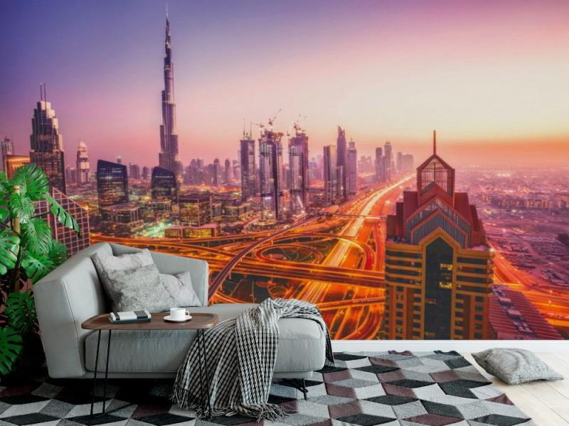 Fototapet Dubai nattstadsbild (85262392)