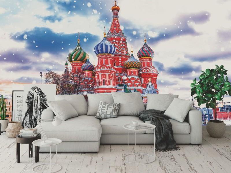 Fototapet vinter sikt över St. Basil's Cathedral i Moskva