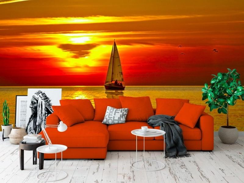 Fototapet segelbåt vid solnedgången
