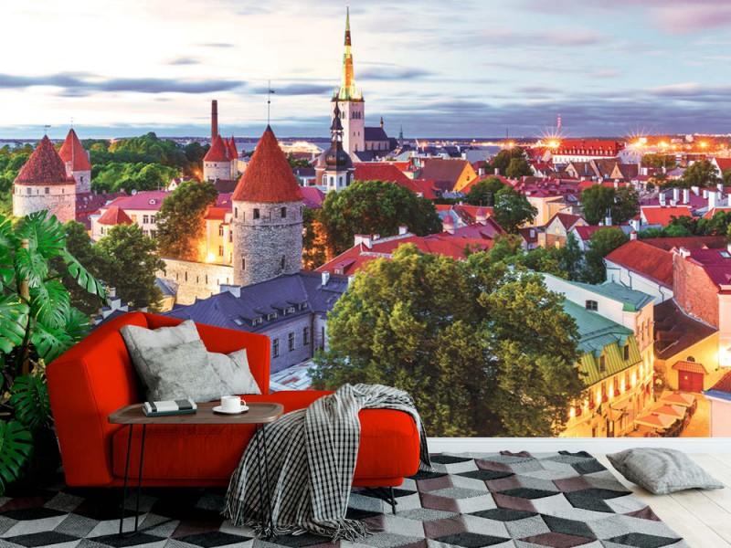 Fototapet flygfoto över den gamla staden vid Toompea-kullen i Tallinn (89627673)