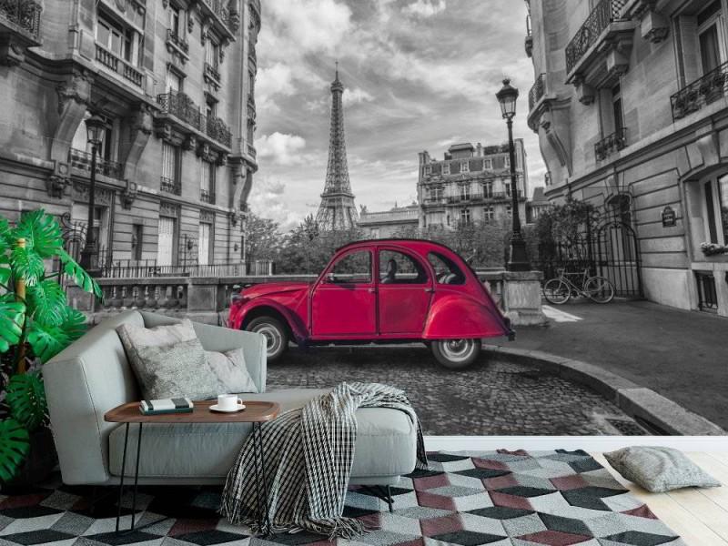 Fototapet Eiffeltornet och den röda bilen