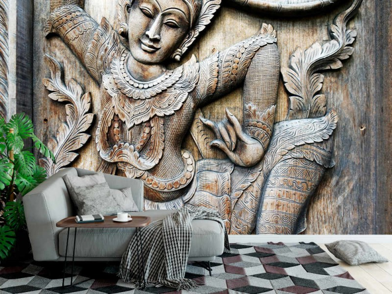 Fototapet thailändsk träsnideribakgrund (91311037)