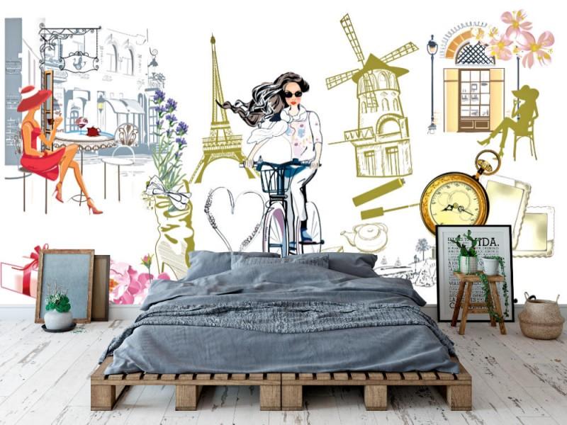 Fototapet skissstil modeflickor i Paris (92848206)
