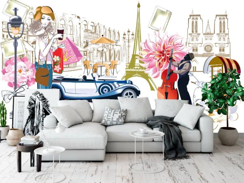 Fototapet skissstil modeflickor i Paris (93833499)