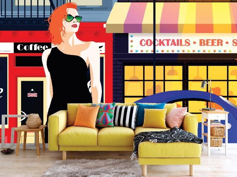 Modekvinna i stilpopkonst på gatan i New York (93877620)