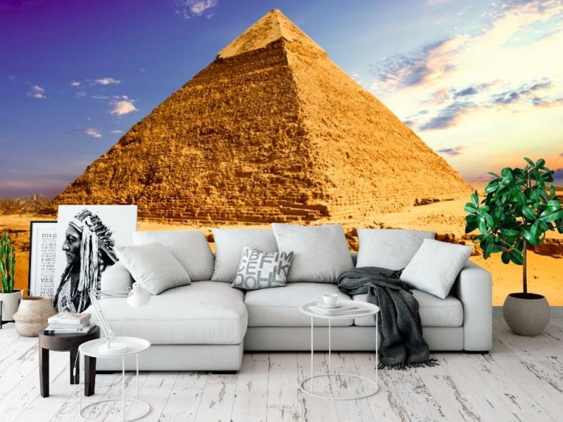 Fototapet landskap med pyramid