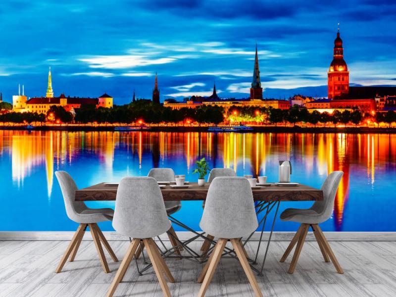Fototapet panorama över natten Riga (Lettland)