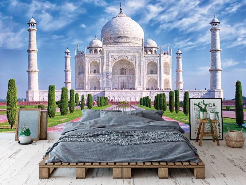 Fototapet Taj Mahal i morgonljus med reflexion i vatten