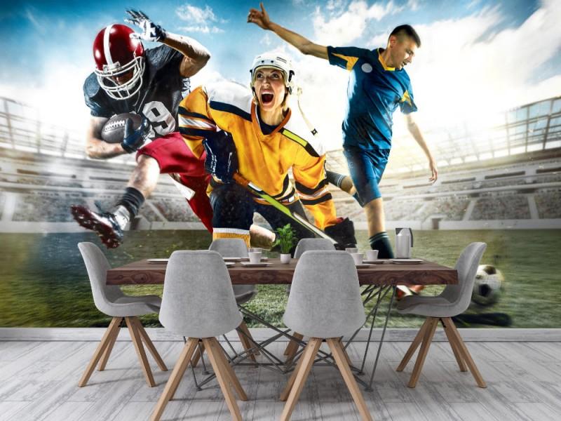 Fototapet multisport collage med ishockey, fotboll och amerikansk fotbollsspelare (95799593)