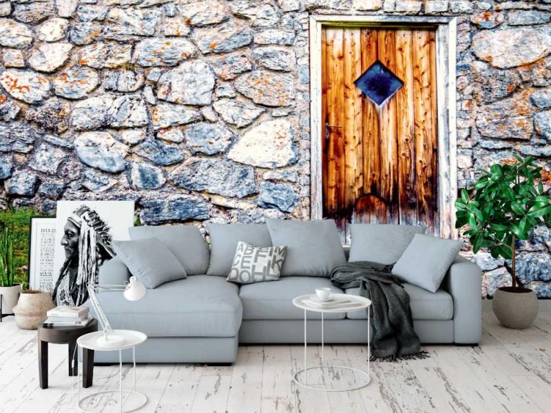 Fototapet stenmur med vacker gammal trädörr (96952957)