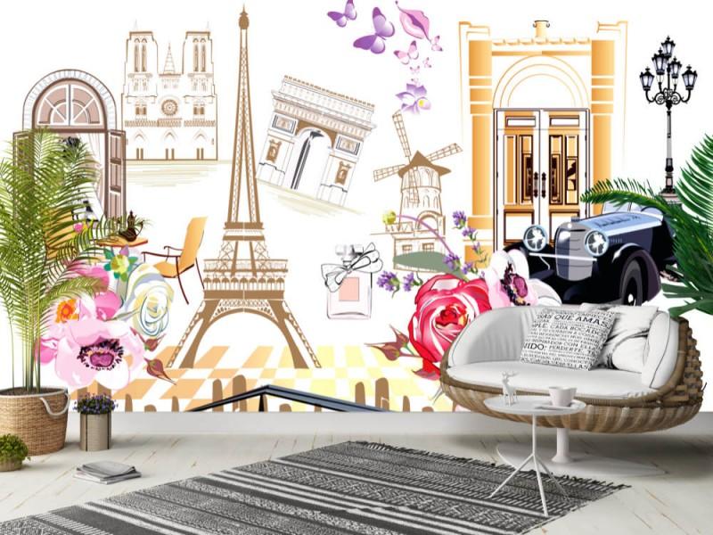Fototapet Paris Streetscape Collage (99980067)