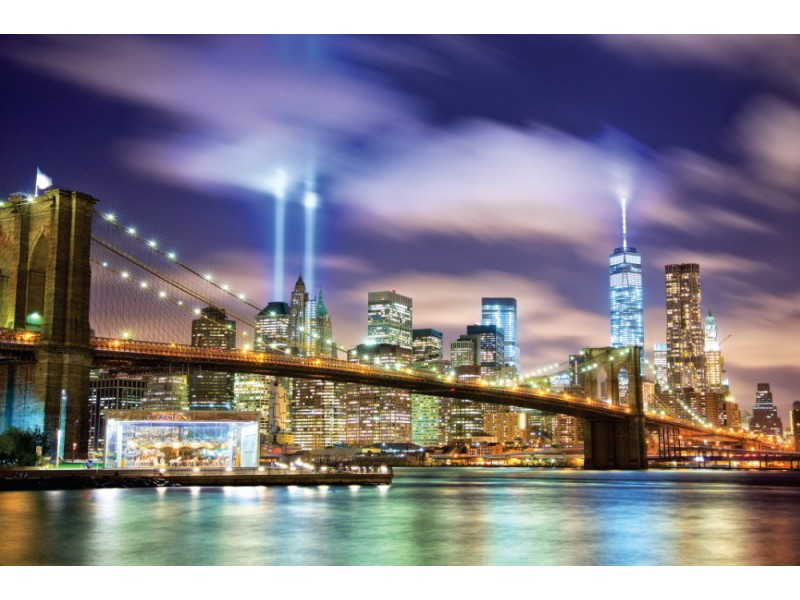 Fototapet Brooklyn Bridge och tornen av ljus