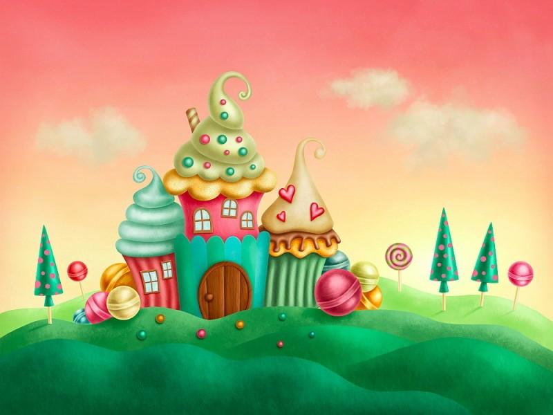 Fototapet fantasi muffins hus