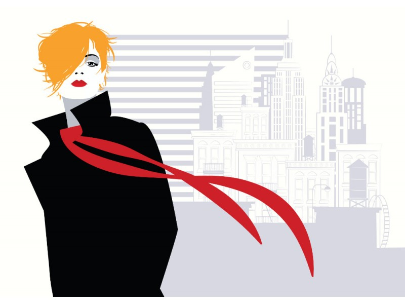 Fototapet modekvinna i New York.