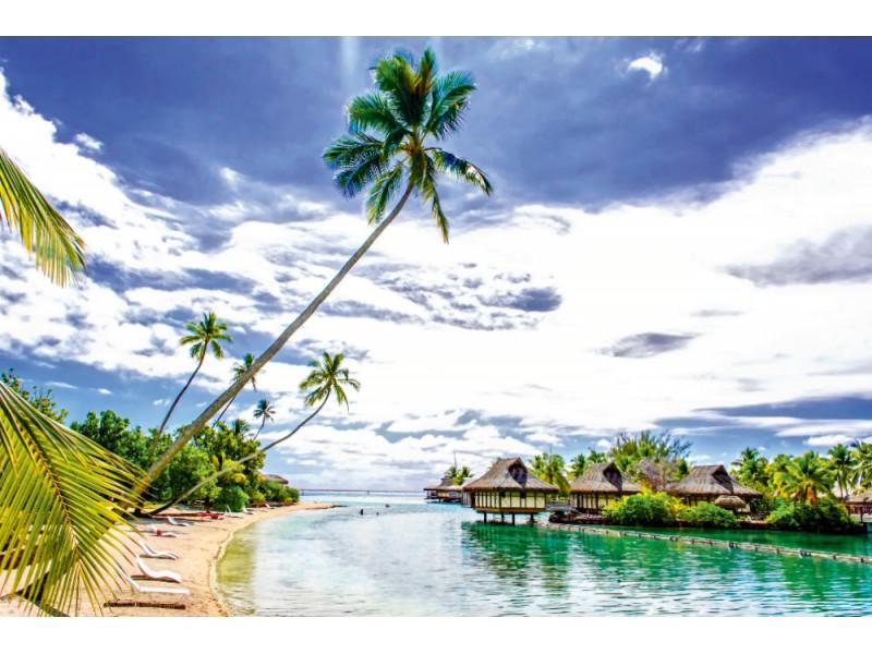 Fototapet Bungalows över vatten i Franska Polynesien