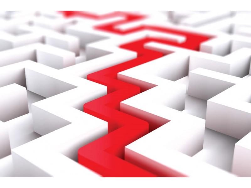 Fototapet oändlig vit labyrint med röd bana