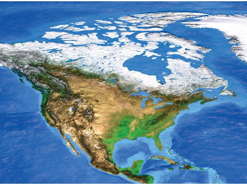 Fototapet satellitvy över Nordamerika