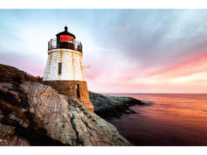Fototapet liten slottkull fyr på Rhode Island