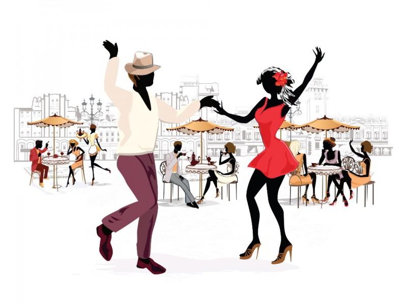 Fototapet gatuvy i skissstil av musiker och danspar