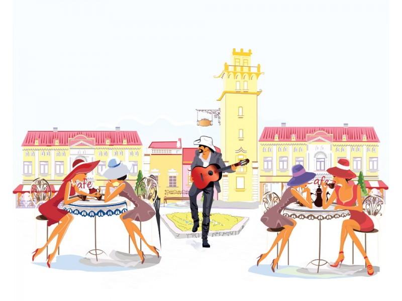 Skiss-stil väggmålning människor och musiker i den gamla staden
