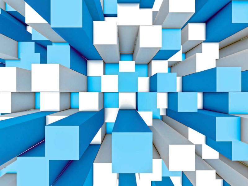 Fototapet abstrakt mosaik tredimensionell grå och blå bakgrund (43561127)
