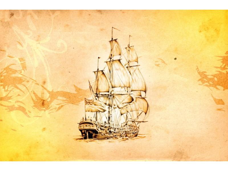 Fototapet båt konst design ritning