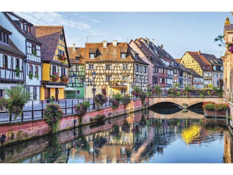 Fototapet färgglada franska hus i Colmar