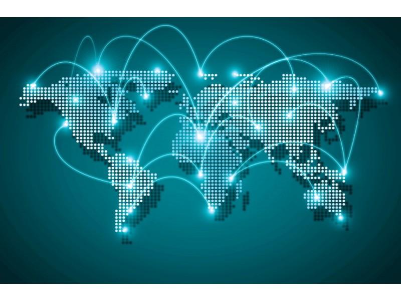Fototapet digital världskarta