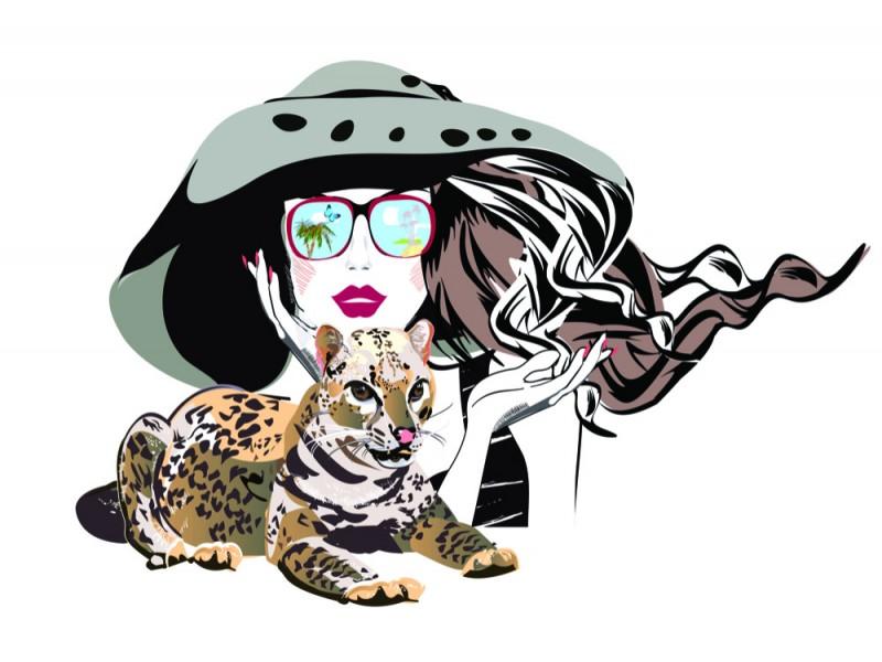 Fototapet Mode flicka med sin husdjur leopard (126056356)
