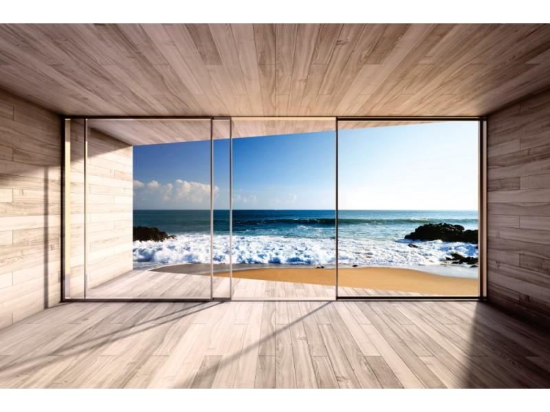 Fototapet stort burspråk och utsikt över havet