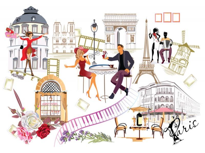 Fototapet Paris Streetscape Collage (101770220)