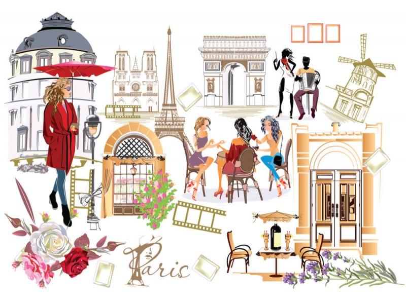 Fototapet Paris Streetscape Collage (113080442)