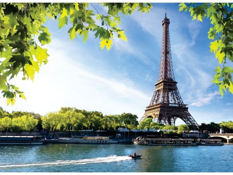 Fototapet floden Seine i Paris med Eiffeltornet i soluppgångstid