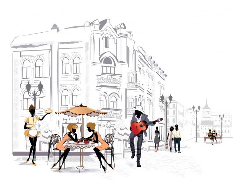 Fototapet gatumusikanter i gamla stan