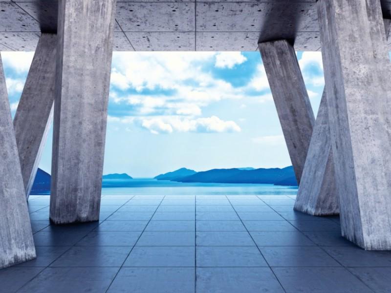 Fototapet terrass med utsikt över havet